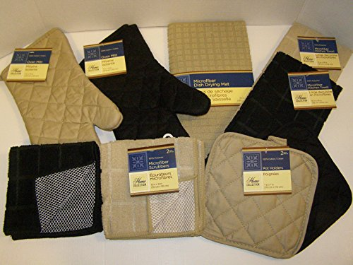 (Bundle of Kitchen Linens by Home Collection Featuring: 2 Kitchen Towels, 2 Pot Holders, 2 Oven Mitts, 3 Dishcloths, 1 Dish Drying Mat (10 Piece Bundle, Solid Tan & Black))