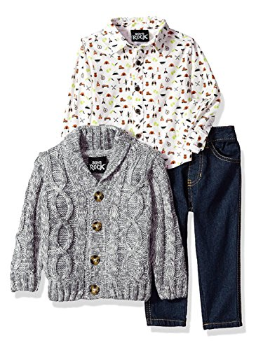 - Boys Rock Baby 3pc Sweater Cardigan Woven Top Set, Grey, 24M