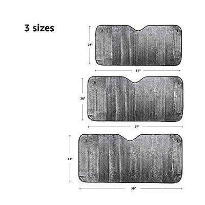 Basics UV Reflecting Foldable Front Windshield Sun Shade - 51'' x 23'', 2-MM Thickness: Automotive