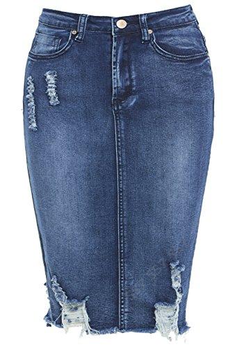 Jeans 8 NEUF dlav SS7 Extensible Femmes pour Mid Denim 14 Tailles Blue jupe 06pEwaqnxE