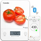 Tribesigns H441 Wireless Bluetooth Smart Digital Kitchen Food Nutrition Scale, Audible Touch Buttons, 5 Unit Modes, Liquid Visual Cup Measurement, Tempered Glass in Elegant White