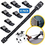 Bebe Earth - Furniture and TV Anti-Tip Straps (8-Pack) for Baby Proofing & Child Protection | Adjustable Wall Anchor Safety Kit | Secure Cabinets & Bookshelf from Falling - Black