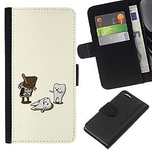 A-type (Dentist Funny Sweets Oral Care) Colorida Impresión Funda Cuero Monedero Caja Bolsa Cubierta Caja Piel Card Slots Para Apple iPhone 5C