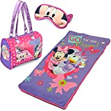 3-Piece Disney Minnie Mouse Kids Sleepover Set with Sleeping Bag and Bonus Eye Mask Made of Polyeste