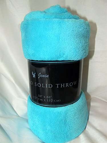 (GorgeousHomeLinen 1 Super Soft Micro-fleece Warm Bed Bedding Lightweight Throw Blanket Twin/Full/Queen/King (SMALL THROW, AQUA))