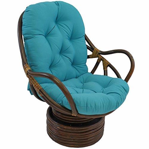 "Blazing Needles Solid Twill Swivel Rocker Chair Cushion, 48"" x 24"", Aqua Blue"