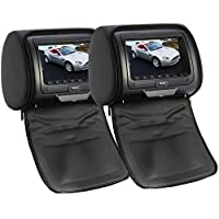 OukuBlack Color Pair of Headrest 7 LCD Car Pillow Monitors with Region Free DVD player Dual Twin Screens USB SD IR FM Transmitter 32 Bit Games