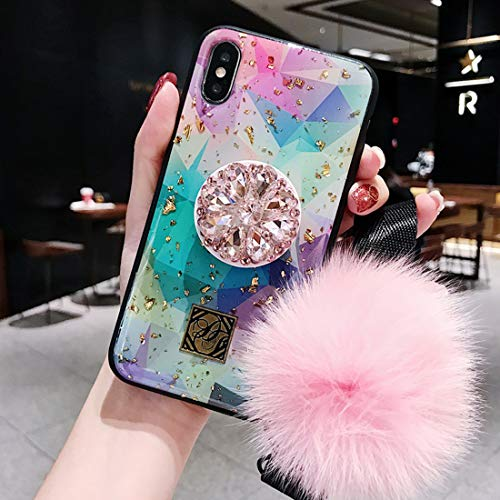 Tianyuanxuan iPhone XR Case,iPhone xr Case,Fashion Epoxy Diamond Bracket Set with Pink Rabbit Fur Ball Hand Strap Phone case for iPhone xr 6.1-inch (Phone Strap Set)