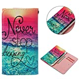 """Cell Phone Flip Case Compatible LG G Stylo G4 Stylus 4G LS770 H631 F560K 5.7"""", JULAM Universal PU Leather Skin Folio Case Cover Protective Wallet Clutch Bag Card Slots (Never Stop Dreaming)"""