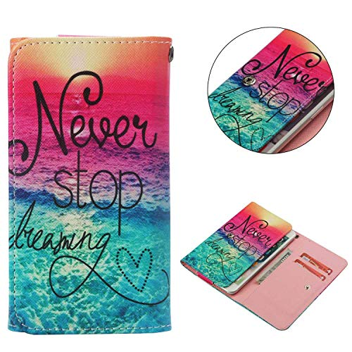 "Cell Phone Flip Case Compatible LG G Stylo G4 Stylus 4G LS770 H631 F560K 5.7"", JULAM Universal PU Leather Skin Folio Case Cover Protective Wallet Clutch Bag with Card Slots (Never Stop Dreaming)"