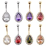 MagiDeal 8 Pcs 14G Water Drop Rhinestone Belly Button Ring Zircon Copper Navel Ring