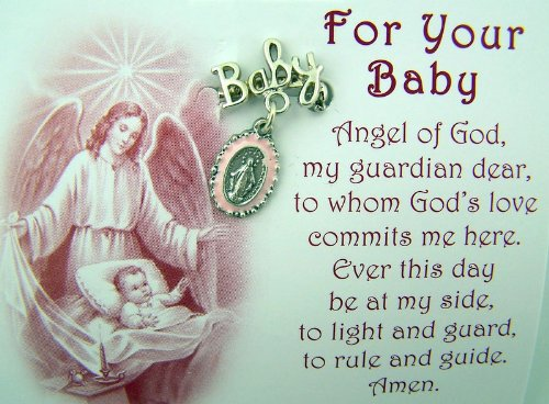 "Birth or Baptism Gift ""Baby"" Lapel Pin with Dangling Pink Miraculous Medal Charm"