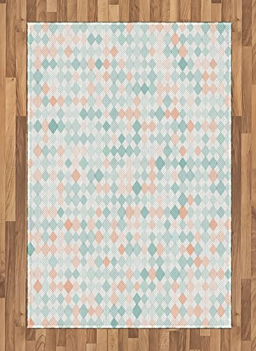 Lunarable Contemporary Area Rug, Rhombus Squares Tile Art Geometric Melange Inspirations Mosaic Pattern, Flat Woven Accent Rug for Living Room Bedroom Dining Room, 4 X 5.7 FT, Mint Green Peach ()