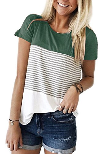 Womens Short Sleeve Summer Tops Triple Color Block Stripe T Shirts St Patricks Day Shirt Women Green M ()