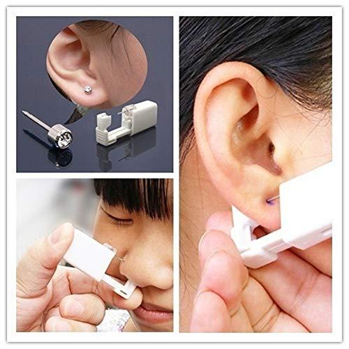 (Disposable Ear Piercing Gun,Studs Earrings No Pain Safety Unit Tool With Ear Stud Asepsis Pierce Kit For Girls Women Men Professional Steel Ear Nose Navel Body Piercing Gun Studs Tool Kit Set Onkessy)