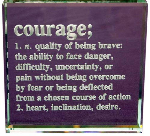 Courage Definition: Hand Carved Etched Glass Paperweight by Crystal Etch (Image #3)