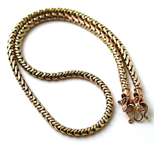 Bronze Norse Viking Gold Tone 5 mm Snake Chain Wolf Necklace for Men Women Pagan Jewelry (60 CM)