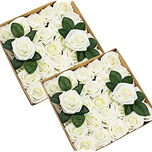 Foraineam 50pcs Artificial Roses Real Looking Foam Fake Rose Flowers with Stem & Leaves for DIY Wedding Bouquets Centerpieces Party Home Decorations (Ivory) 2