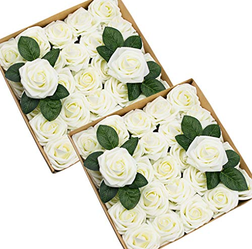 Foraineam 50pcs Artificial Roses Real Looking Foam Fake Rose Flowers with Stem & Leaves for DIY Wedding Bouquets Centerpieces Party Home Decorations (Ivory) -