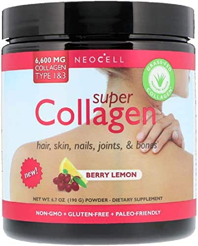 Super Collagen Type 1 & 3 Berry Lemon Hair Skin Nails Joints Bones 6000 mg 6.7 oz 190 g