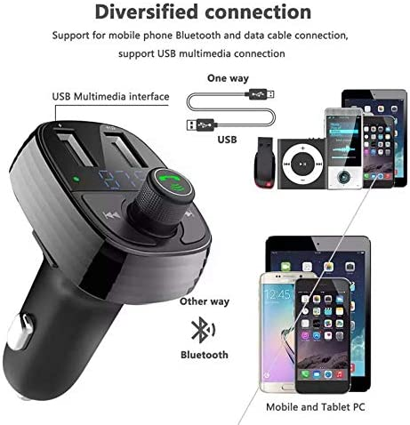Bluetooth FM Transmitter for Car Epse Wireless Bluetooth FM Radio Adapter Music Player Car Kit with Hands Free Calling and 2 USB Ports Charger Support USB Flash Drive
