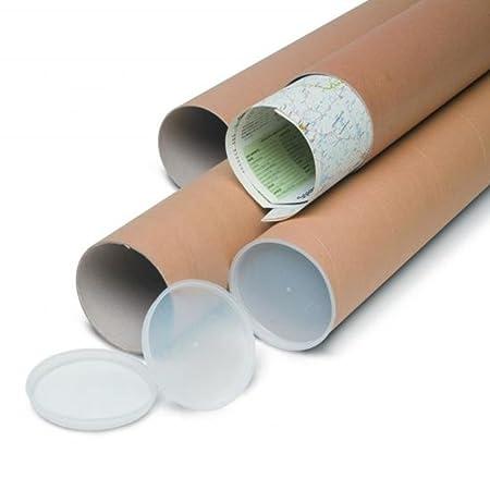 5 tubi CARTONE CON TAPPO PLASTICA SPEDIZIONI POSTALI ALT115x10cm DIAMETRO AVANA