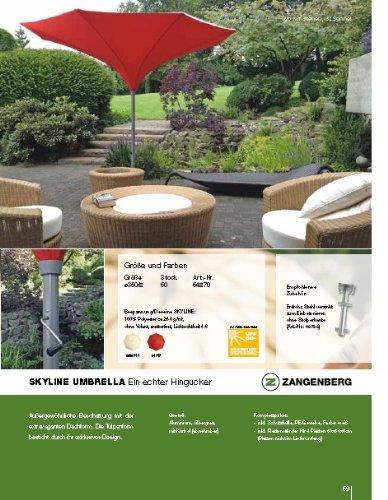 SKYLINE UMBRELLA 400 cm Ø - TROMPETENFORM- ALUMINIUM KURBEL - SONNENSCHIRM - mit ERDROHR und KURBEL abnehmbar ZANGENBERG - GERMANY - RUND - 400 cm - 8 teilig - Farbe : KIRSCH ROT - VERTRIEB Holly ® Produkte STABIELO ® - holly-sunshade ®