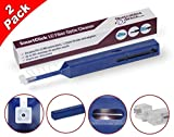 FiberCablesDirect - 2 Pack LC Fiber Cleaner | Smart Click LC/MU Fiber Cleaning Pens | UPC/APC 1.25mm Ferrule Connectors | 800+ x2 Dynamic Microfiber Sweep/Rotate Motion Contact Cleanings, Usage Window