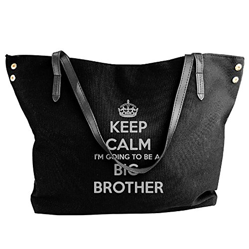 I'm Big Bags Calm Large Women's Black Handbag Tote Large Going Keep Canvas Capacity Shoulder Brother A To Be qAw0HC
