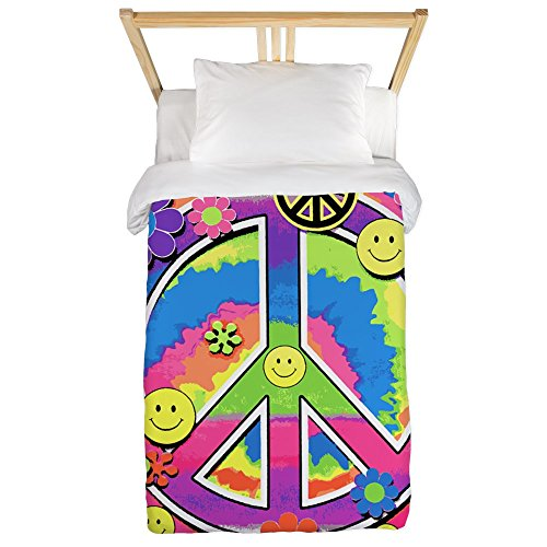 Twin Duvet Cover Neon Smiley Face Floral Peace Symbol by Royal Lion