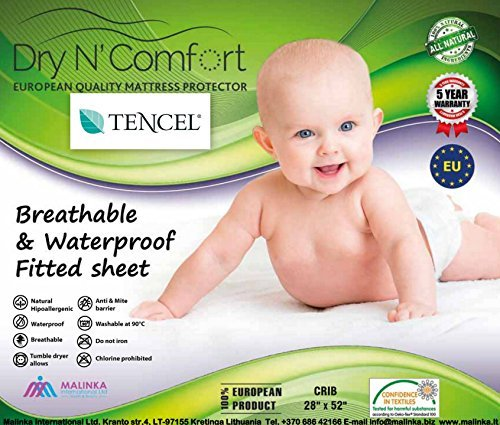 TENCEL® ORGANIC BABY CRIB WATERPROOF MATTRESS PROTECTOR PAD COVER size 28'' x 52'' - Dry N Comfort - European Premium Quality Super Soft Hypoallergenic White Fitted Sheet - Vinyl Free - 5 Years Warranty - Money Back Guarantee! Dry N Comfort - CA
