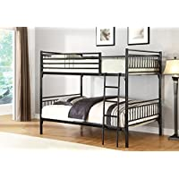 Home Source 50902084 Sturdy Metal Bunk Bed, Full, Black