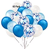 ESANDA 60 Pcs Blue Confetti Balloons, 12 Inch Blue Confetti Balloons Light Blue Balloons Blue & White Latex Balloons for Wedding Party, Bridal & Baby Showers, Birthday Party, Engagement