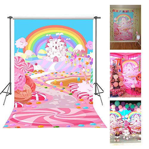 Birthday Lollipop Party - FUERMOR 5x7ft Fairytale Candy World Backdrop Props Cartoon Rainbow and Castle Photography Background for Children FANGFU048