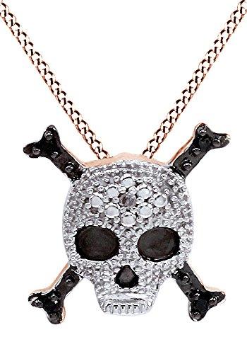 White Diamond Skull Pendant - AFFY Round White Natural Diamond Skull Pendant Necklace in 14k Rose Gold Over Sterling Silver