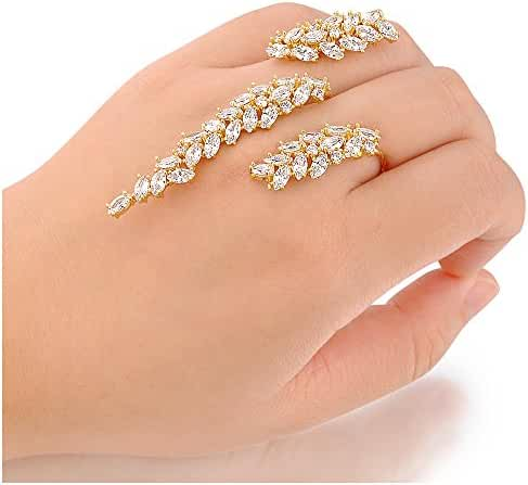 Dnswez Fashion Adjustable Cubic Zirconia Cluster 2 Finger Ring Palm Cuff Hand Jewelry for Women