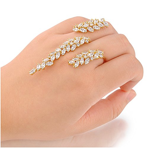 dnswez Unique Cubic Zirconia CZ Cluster Multiple 2 Finger Rings Palm Cuff Hand Jewelry for Women Adjustable Size (Yellow) - Multi Finger Ring