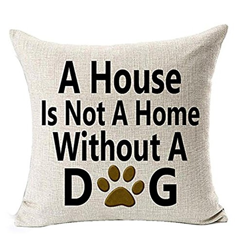 Ninasill Pillow Cover, ? ? Exclusive 18x18 Best Dog Lover Gifts Cotton Linen Throw Pillow Case Cushion Cover (A)
