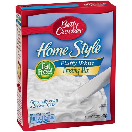 Betty Crocker Fat Free Frosting Mix Home Style Fluffy White 7.2 oz Box (2 (Fluffy White Frosting)