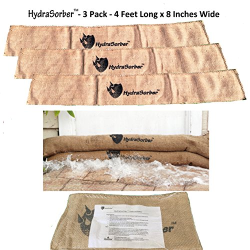 - HydraSorber - Sandless Sandbags - Water Absorbent Flood Barrier - 4ft Long X 8in Wide - Three Pack
