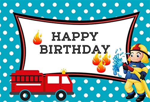 Leyiyi 6x4ft Cartoon Kids Happy Birthday Backdrop Red Fire Truck Little Firemen Costume Blue White Spotted Banner Fire Hydrant 1st B Day Photo Background Baby Shower Portrait Shoot Vinyl Studio Prop