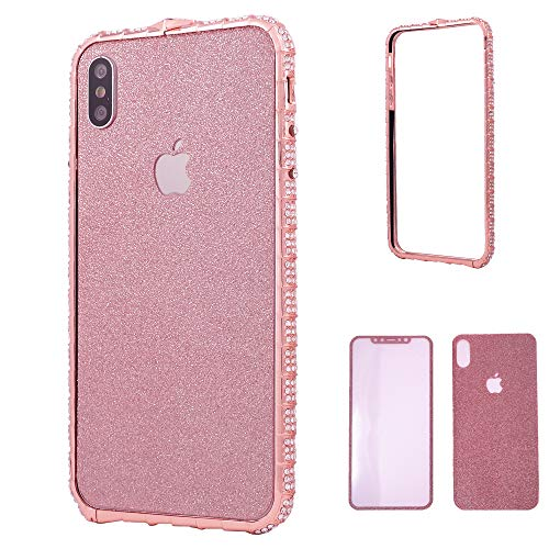 iPhone Xs Max Bumper Case for Women, DMaos Diamond Metal Bumper with Front and Back Glitter Sticker, Sparkly Eyes-Catching, Premium for iPhone 10s Max 6.5 Inch (Rose Gold)