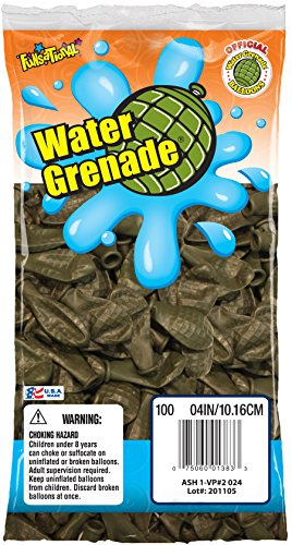 Pioneer National Latex Water Grenade Balloons, Dark Green, 100 Count