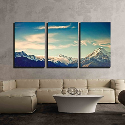 wall26 - 3 Piece Canvas Wall Art - New Zealand Scenic Mountain Landscape Shot at Mount Cook National Park. - Modern Home Decor Stretched and Framed Ready to Hang - 24