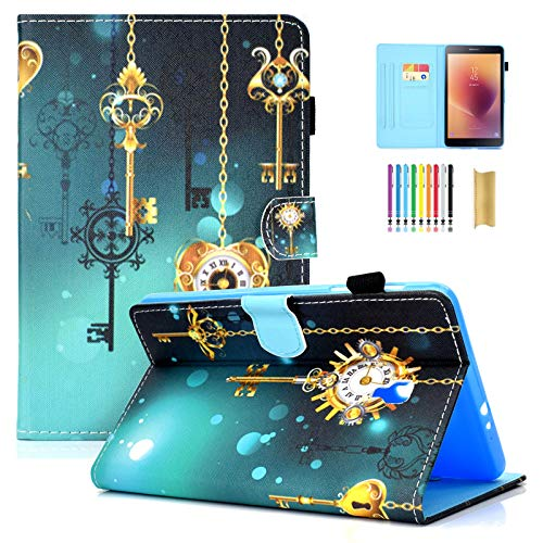T380/385 Case, Galaxy Tab A 8.0 2017 Case, Dteck PU Leather Smart Wallet Case with [Stylus Pen] Pretty Cute Flip Folio Stand Cover for Samsung Galaxy Tab A 8 Inch 2017 Version-Antique Clock
