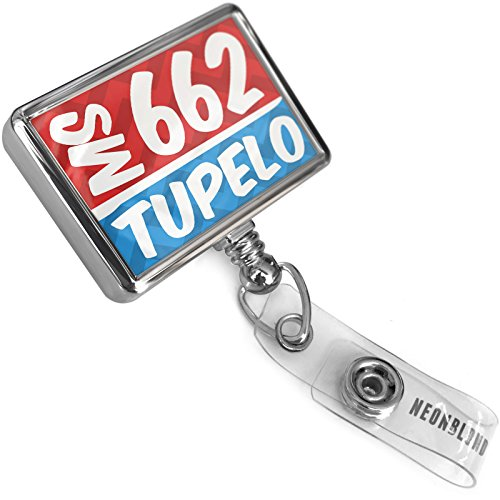 Retractable ID Badge Reel 662 Tupelo, MS red/Blue with Bulldog Belt Clip On Holder Neonblond ()