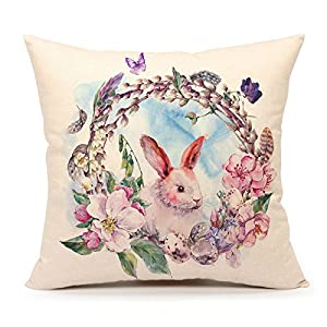 Amazon.com: Watercolor Spring Happy Easter Wreath Rabbit Throw Pillow Cover Cushion Case 18 x 18 ...