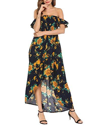 Funpor Women's Off Shoulder Floral Print Chiffon Maxi Beach Wedding Party Dress, Navy Blue, Medium