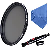 Beschoi 58mm ND Lens Filter Kit Fader Neutral Density Filter Adjustable (ND2 to ND400) Ultra Slim Optical Glass for Digital DSLR Camera, with Cleaning Cloth + Cleaning Pen