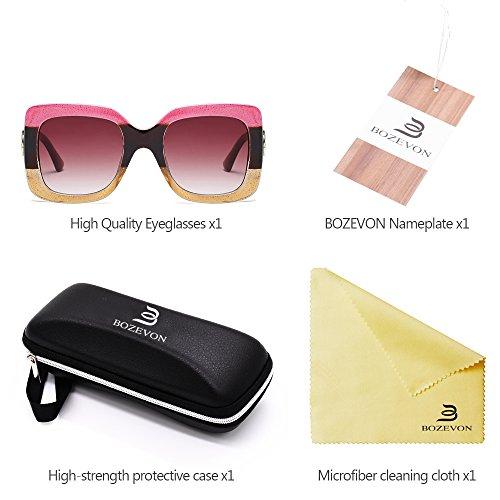 Lunettes soleil Femmes Grand 02 Style UV400 Lunettes Mode BOZEVON de surdimensionnées Protection monture à Branché qX56t